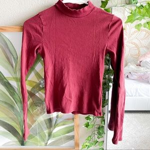 ribbed kong sleeve turtle neck